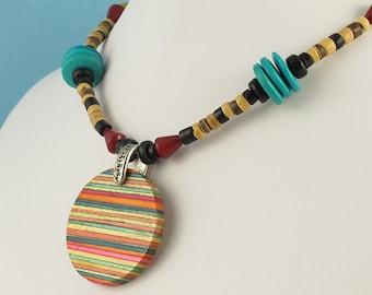 Wooden Orbit Pendant Necklace