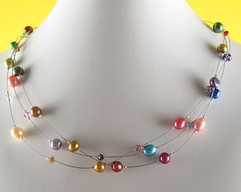 Crystal Rainbow Floating Pearl Necklace