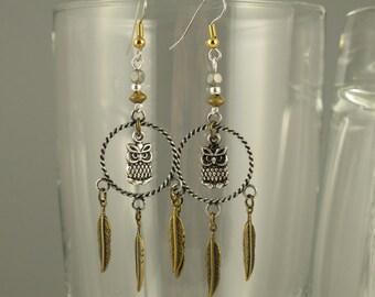 Owlfeathers Multicolored Metal Hoop Earrings