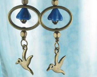 Bluebell Hummingbird Dangle Earrings
