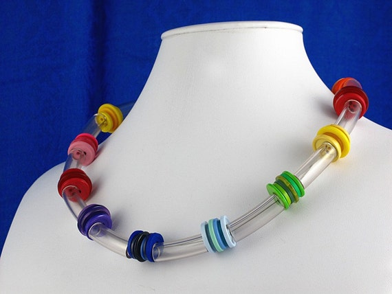 Buttons o' Summer - Upcycled Colorful Button Necklace