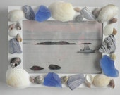 Photo frame, nautical beach home accented with seashells and sea glass