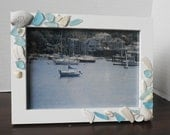 Photo Frame, Seashell Beach Decor, Nautical, Coastal Home Decorating with Sea Glass, Sea Shells