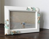 Seashell Photo Frame, Nautical Picture Frame, Coastal Home Decor, Sea Glass, Shells, Beach House Decor