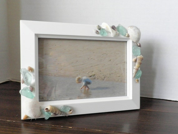 Seashell Photo Frame, Nautical Picture Frame, Coastal Home Decor, Sea Glass, Shells, Beach House Decor