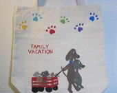 tote bag- hand painted - dog family vacation