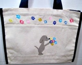 An offering of flowers - hand painted dog tote bag