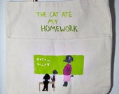 The Cat Ate My Homework - large hand painted dog tote bag