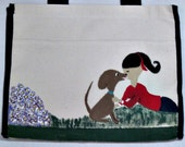 whimsical, hand painted canvas tote bag - puppy kisses