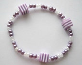 bracelet  - lavender and white beaded bracelet with square striped spacers