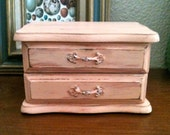Small Jewelry Box - Vintage Peachy Pink - Upcycled and Distressed