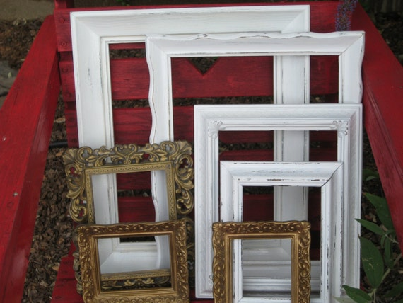Empty Frames Set of SEVEN - Vintage Upcycled in Crisp White and Antique GOLD