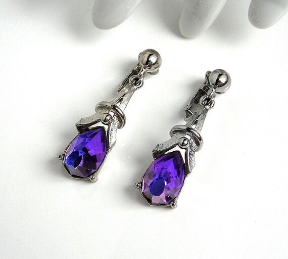 Vintage 1970s SARAH COVENTRY HELIOTROPE Purple Stone Earrings