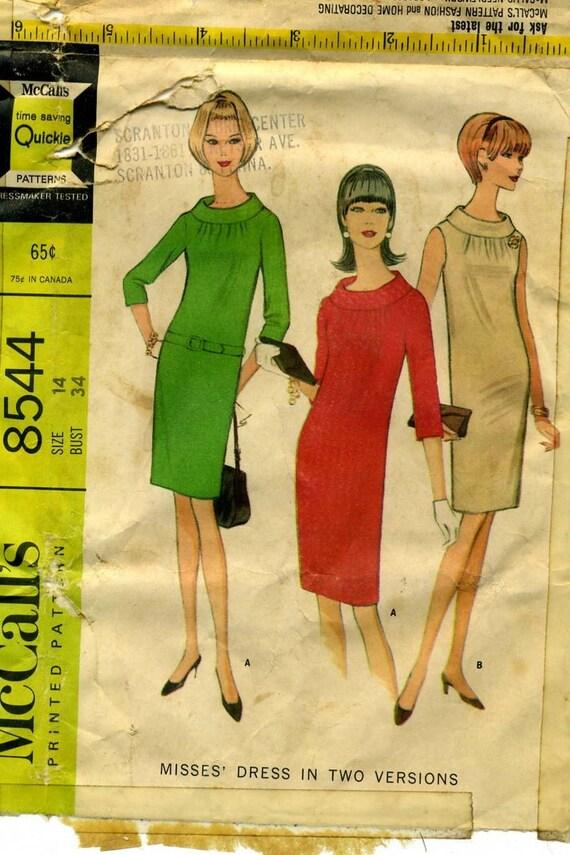 CLOSING SALE Vintage 1960s Mod Sack Dress Pattern  McCalls 8544 Bust 34