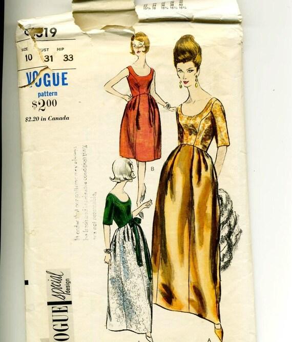 FINAL CLOSING SALE 1960s Vogue 6019 Special Design Evening Gown Pattern Bust 31 Stunning Elegant
