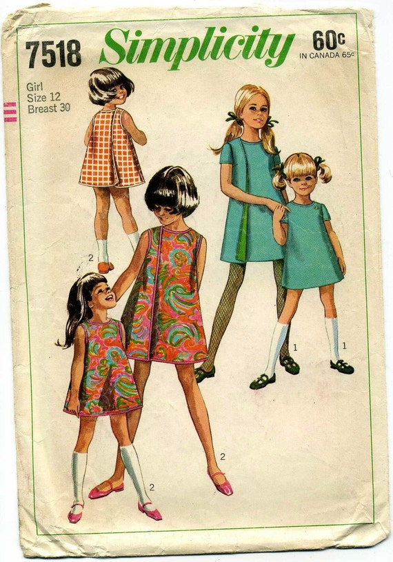 1960s Three Armhole Dress Pattern Girls Chest Bust 30