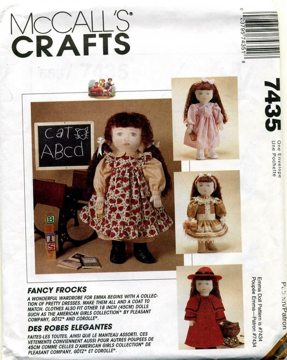 18 Inch Victorian Old Fashioned Doll Clothes Pattern Mccalls