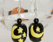 Double Sided Moon & Stars and Witches Hat Earrings - KindredImages