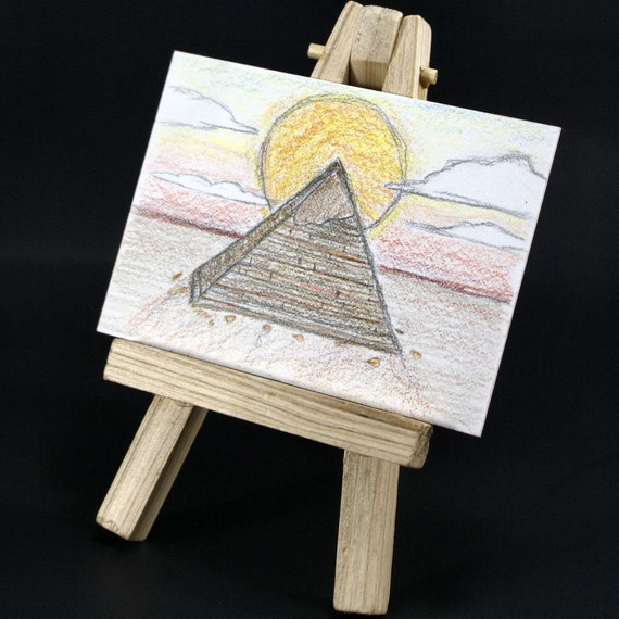 The Pyramid- Egyptian Desert Scene with Sun  ACEO/ATC