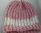 Organic Cotton Pink and Cream Hand Knit Baby Hat (0-3 months)