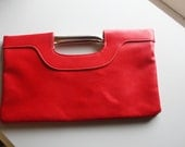 FREE SHIPPING - Convertible Red Leather Clutch with Metal Framing -Valentine's Day Special