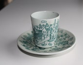SALE Danish Nymolle Demitasse Cup and Saucer - Gray Ceramic with Teal town scene