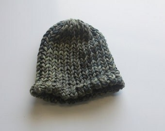 Organic Cotton Hand Knit Camouflage Baby Hat - 0 to 3 months