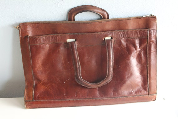 Vintage Leather Attache Case - Briefcase - Worn in but not worn down