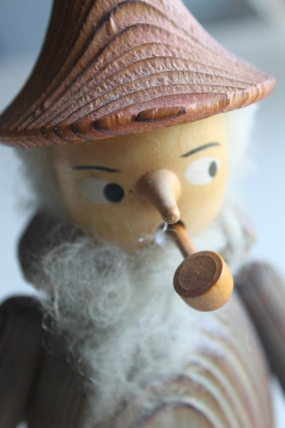 Vintage Odd Wooden Man - Smokes a Pipe - kind of Gnome