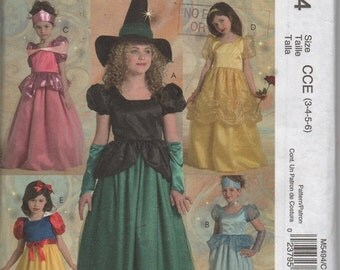 McCall's Costume pattern for Snow White, Princess or Witch. Childs size 3-6