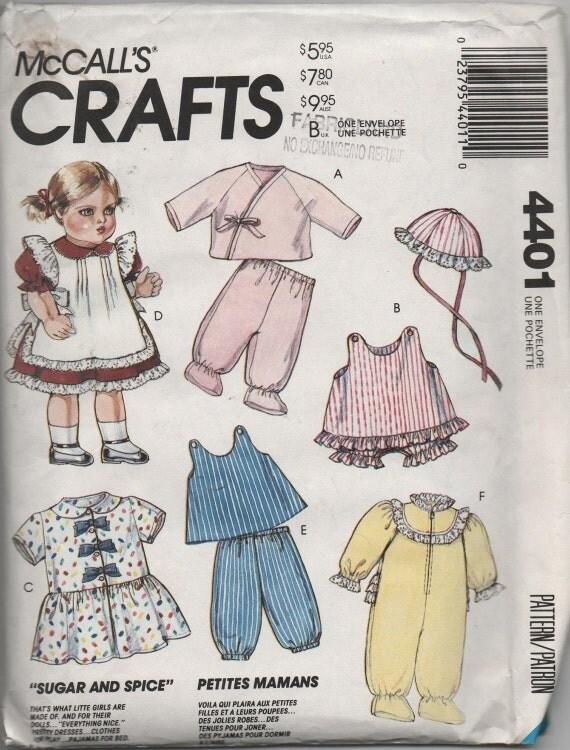 "Baby Doll Clothes Pattern Uncut McCalls Doll Wardrobe 13""-18"" doll"