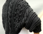 Custom Listing for Tagteam007 - Whole Wool Handknit Chunky Cable Shrug