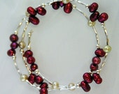 Maroon pearl bracelet 30% off - Delicate cranberry peach pearl bracelet