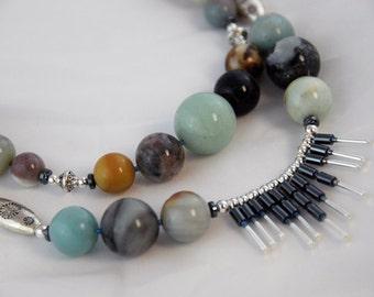 Amazonite Layered necklace, silver, hematite ARANGETRAM SALE. City Nights Necklace 0120