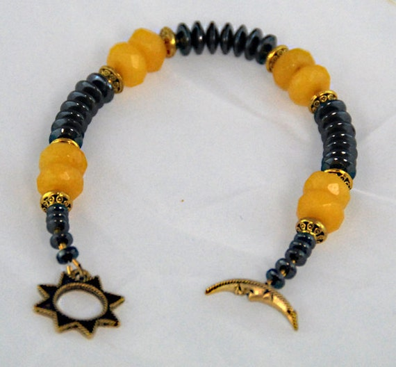 Black and Gold bracelet named Sodium SALE Black and Gold Hematite and Yellow Jade. Science Jewelry, Elements collection