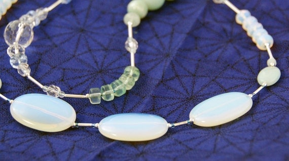 Long moonstone necklace Snow: SALE Moonstone, flourite, amazonite asymmetric necklace and earrings