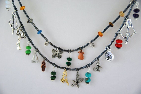 30% off - Indian Ramayana necklace. Hematite, with charms depicting the epic from Indian mythology