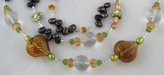 Pearl necklace - Long brown freshwater pearls, Arangetram SALE. Zigzag brown, green, gold pearls and heart murano beads. Matching earrings