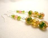 Savannah Spanish Moss, Spring Moss, Green Glass, Pink Glass, Bead, Holiday Earrings