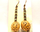 Winter Peaches - Peach Pit, Green Gemstone, Copper, Daisy, Bead, Earrings - Sale - Was 14.00 - Now 12.00