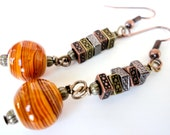 Orange Glass Swirl, Round and Square Copper Bead Earrings - Holiday Earrings
