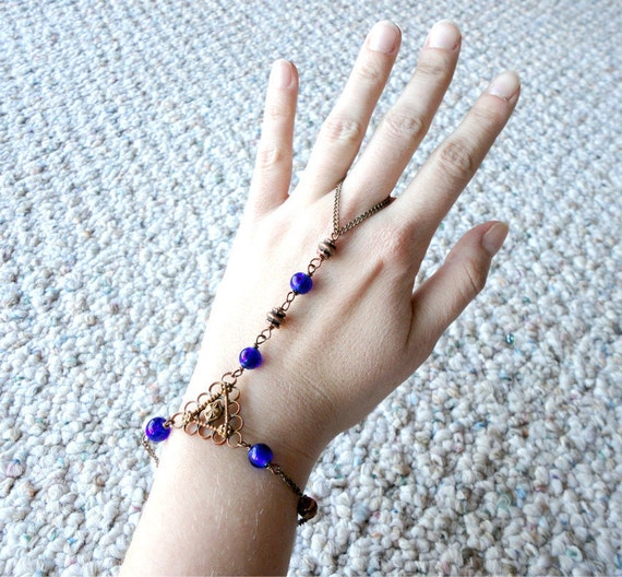 Slave Bracelet, Indigo, Mediterranean, Summer, Blue, Murano, Glass, Copper, Bead, Bracelet - Sale - Was 23.00 - Now 21.00