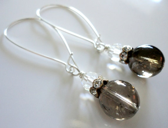 Gray, Brown, Clear, Gemstone, Crystal, Kidney Wire, Spring, Unique, Earrings