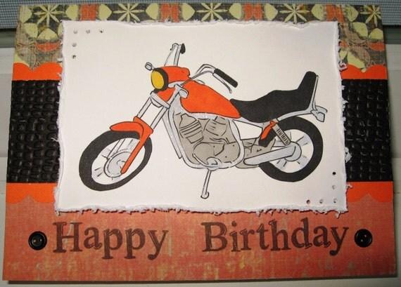 Motorcycle themed Happy Birthday Card