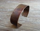 Men's Rough Patina Copper Cuff - Wide Rugged Rustic