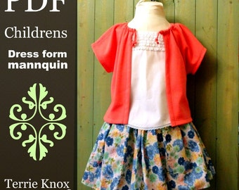Pattern Sewing Children,Mannequin pattern,4-6 years, PDF tutorial dress form, kids mannequin, display mannequin,Kids Clothing