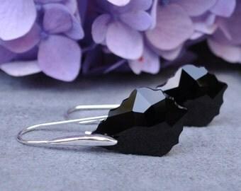 Bridesmaid Sleek Swarovski Baroque Earrings - Available in Jet, Clear, Aquamarine, Amethyst, Ruby, Rose, Silver Shade, Topaz, Olivine,