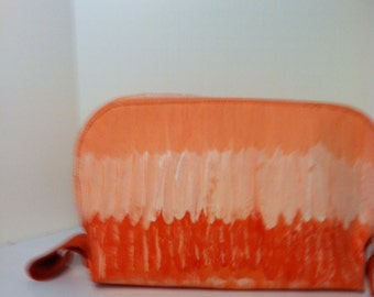 Purse clutch make up case canvas hand painted three shades of orange and peach