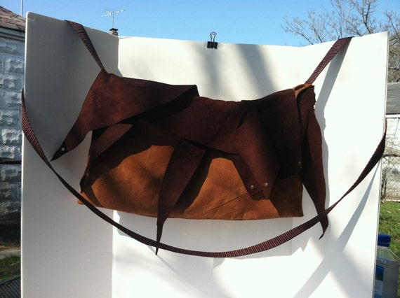 Pouch cross body bag brown and tan suede w/ nylon strap (Free Shipping in US)