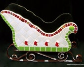 Christmas Red Stockings Decorative Mosaic Sleigh  5036